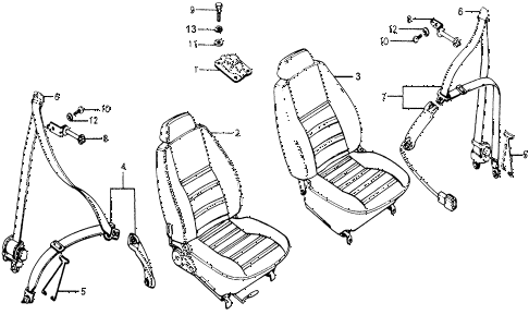 1977 accord STD 3 DOOR HMT FRONT SEAT - SEAT BELT diagram