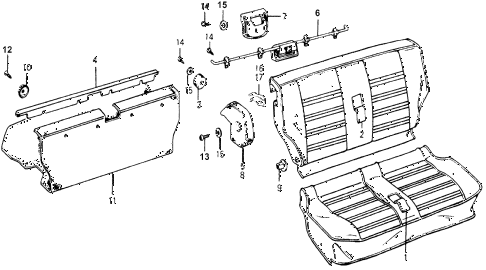 1976 accord STD 3 DOOR HMT REAR SEAT COMPONENTS diagram