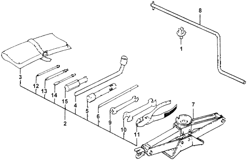 1978 accord LX 3 DOOR HMT TOOLS - JACK diagram