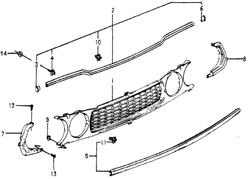 1977 accord STD 3 DOOR 5MT FRONT GRILLE diagram