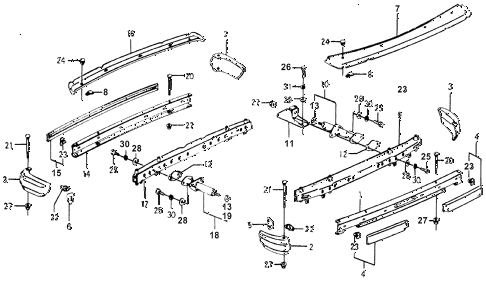 1978 accord STD 3 DOOR HMT BUMPER diagram