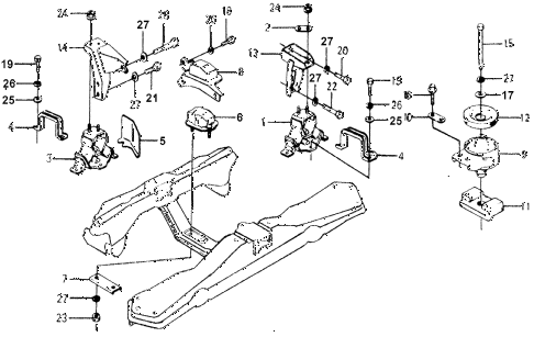 1977 accord STD 3 DOOR 5MT ENGINE MOUNT diagram