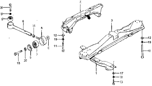 1977 accord STD 3 DOOR 5MT TORQUE ROD - FRONT BEAM diagram