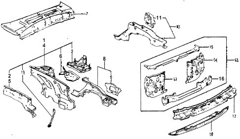 1978 accord STD 3 DOOR HMT BODY STRUCTURE COMPONENTS (1) diagram