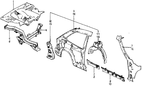 1977 accord STD 3 DOOR HMT BODY STRUCTURE COMPONENTS (3) diagram