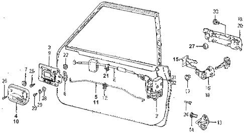 1977 accord STD 3 DOOR 5MT DOOR LOCK diagram