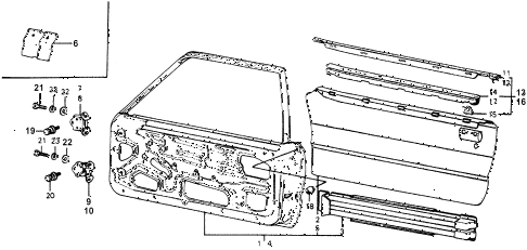 1977 accord STD 3 DOOR HMT DOOR PANEL diagram
