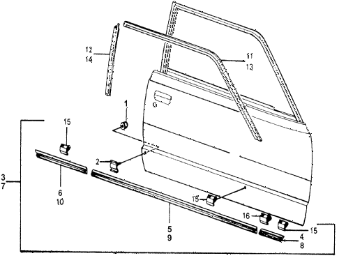 1976 accord STD 3 DOOR 5MT SIDE PROTECTOR diagram