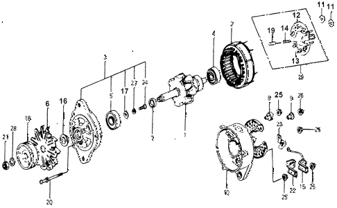 1976 accord STD 3 DOOR 5MT ALTERNATOR COMPONENTS diagram