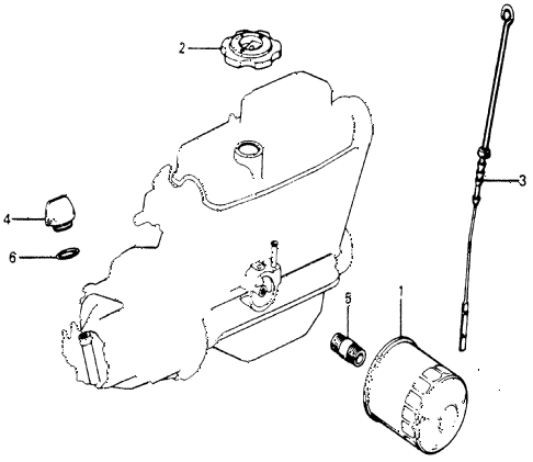 1977 accord STD 3 DOOR HMT OIL FILTER - OIL GAUGE diagram