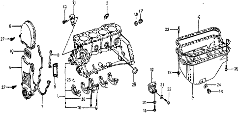 1977 accord STD 3 DOOR HMT CYLINDER BLOCK - OIL PAN diagram