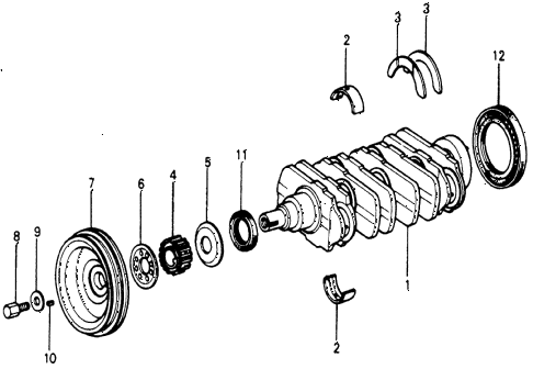 1977 accord STD 3 DOOR HMT CRANKSHAFT diagram