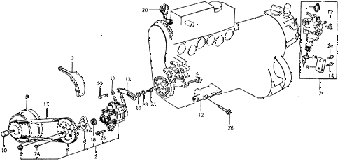 1978 accord LX 3 DOOR HMT P.S. PUMP - SPEED SENSOR diagram