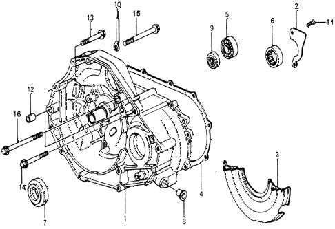 1976 accord STD 3 DOOR 5MT MT CLUTCH HOUSING diagram