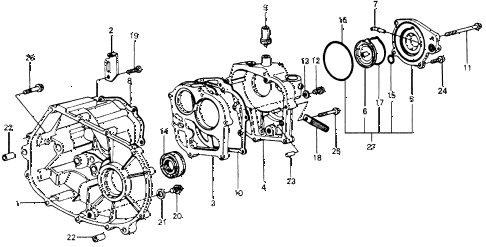 1977 accord STD 3 DOOR 5MT MT TRANSMISSION HOUSING diagram