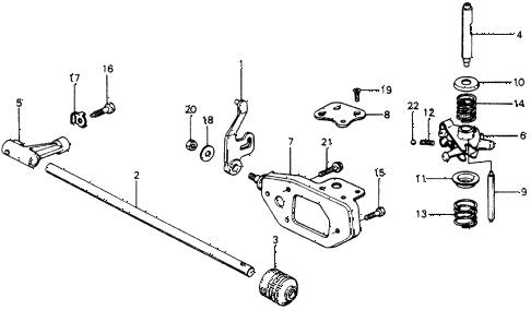 1976 accord STD 3 DOOR 5MT MT SHIFT ARM diagram