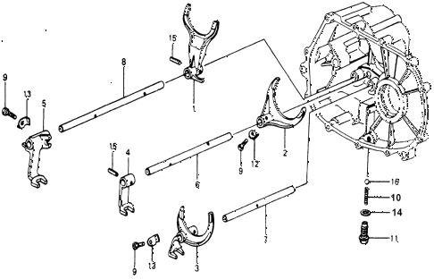 1977 accord STD 3 DOOR 5MT MT SHIFT FORK diagram