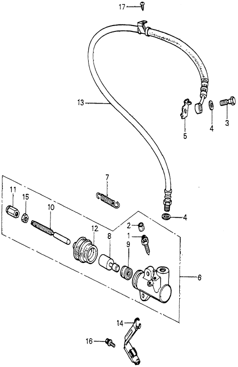 1981 prelude ** 2 DOOR 5MT 5MT CLUTCH SLAVE CYLINDER diagram