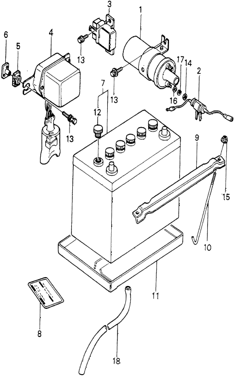 1982 prelude ** 2 DOOR 5MT IGNITION COIL - BATTERY diagram