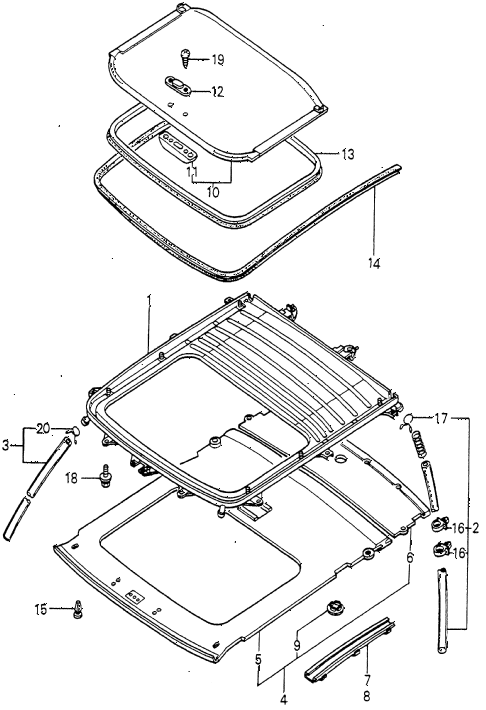 1981 prelude ** 2 DOOR HMT SLIDE ROOF FRAME diagram