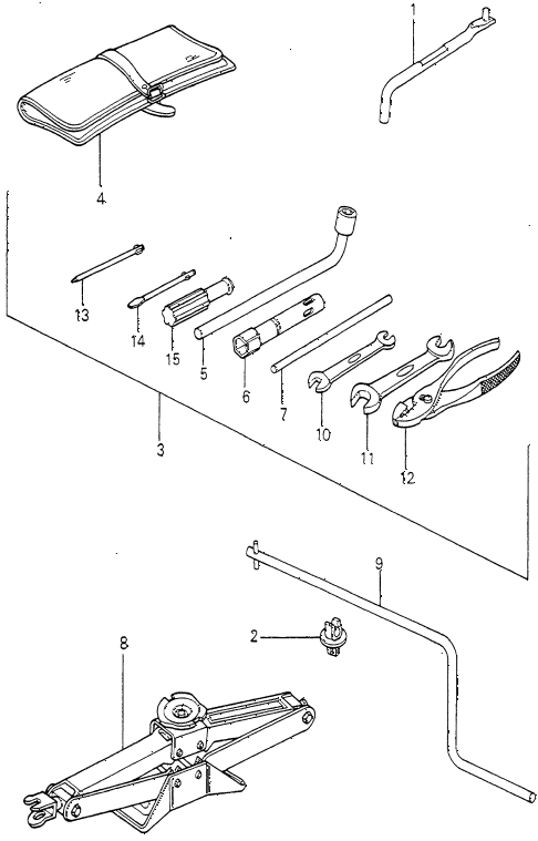 1981 prelude ** 2 DOOR HMT TOOLS - JACK diagram