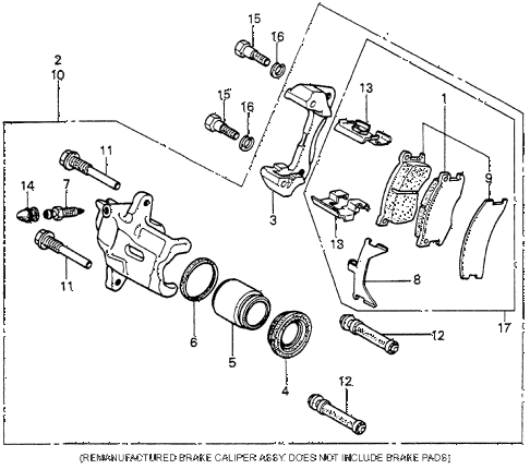 1980 prelude ** 2 DOOR 5MT FRONT BRAKE diagram