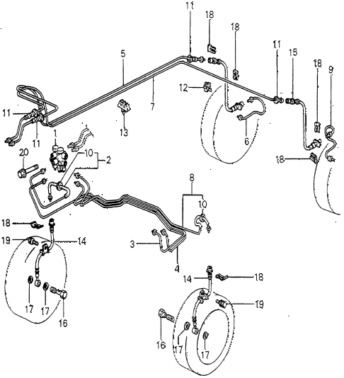 1982 prelude ** 2 DOOR 5MT BRAKE LINE diagram