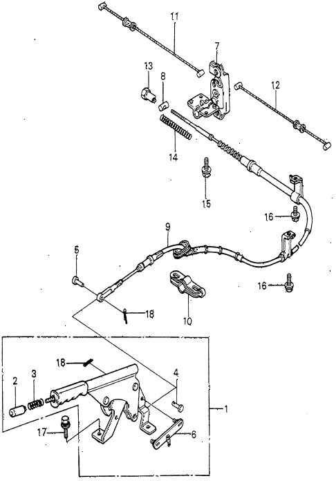 1982 prelude ** 2 DOOR HMT PARKING BRAKE diagram