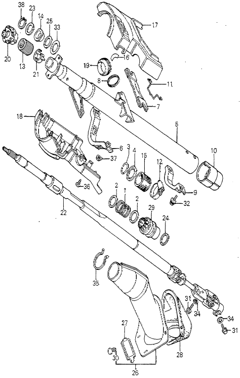 1981 prelude ** 2 DOOR 5MT STEERING COLUMN (2) diagram