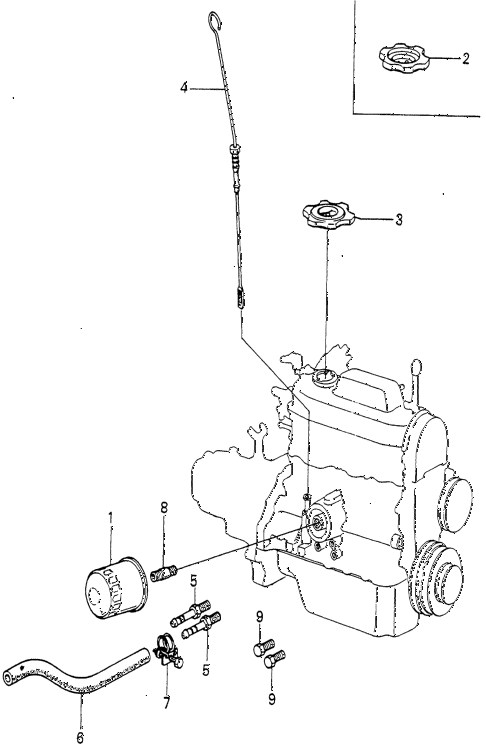 1980 prelude ** 2 DOOR 5MT OIL FILTER - DIPSTICK diagram