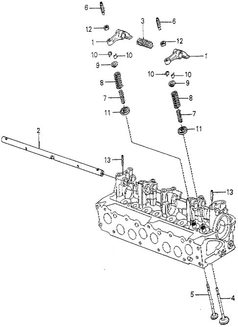 1980 prelude ** 2 DOOR HMT VALVE - ROCKER ARM (2) diagram