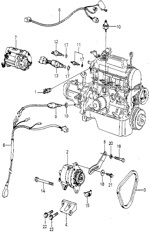 1979 prelude ** 2 DOOR 5MT STARTER - ALTERNATOR - SENSOR (1) diagram