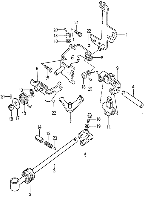 1980 prelude ** 2 DOOR 5MT 5MT SHIFT ARM (1) diagram
