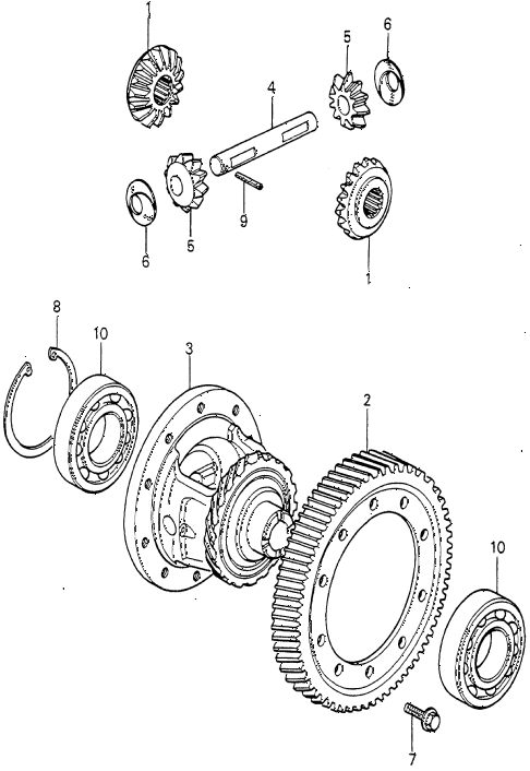 1980 prelude ** 2 DOOR 5MT 5MT DIFFERENTIAL GEAR diagram