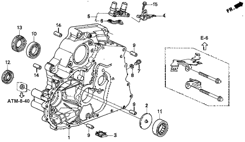 2000 civic EX(ABS) 2 DOOR 4AT AT TORQUE CONVERTER HOUSING diagram