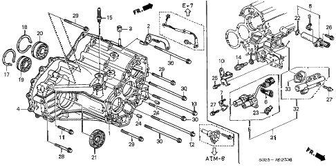 1996 civic EX(ABS) 2 DOOR 4AT AT TRANSMISSION HOUSING (A4RA) diagram