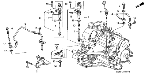 1998 civic DX 2 DOOR 4AT AT ATF PIPE - SPEED SENSOR (A4RA) diagram