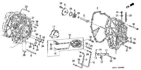 1996 civic HX 2 DOOR CVT CVT RIGHT SIDE COVER diagram