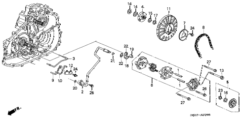 1997 civic HX 2 DOOR CVT CVT OIL PUMP diagram