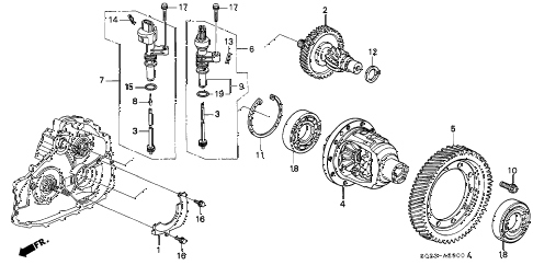 1998 civic HX 2 DOOR CVT CVT DIFFERENTIAL GEAR diagram