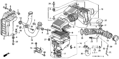 2000 civic EX 2 DOOR 5MT AIR CLEANER (VTEC) diagram