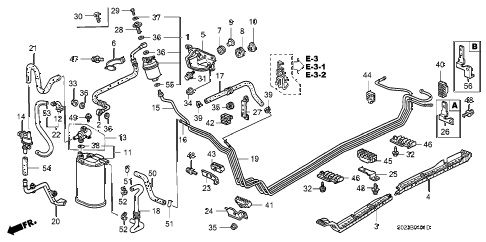 1998 civic EX(ABS) 2 DOOR 4AT FUEL PIPE (2) diagram
