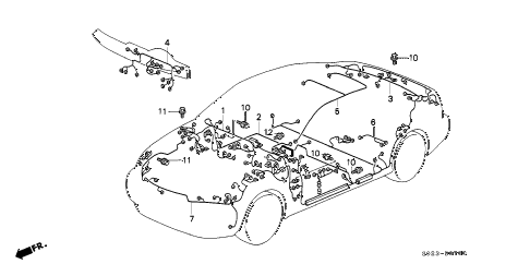 S023B0700 honda online store 1996 civic wire harness parts 1996 honda civic engine wiring harness diagram at gsmportal.co