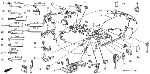 1996 civic DX(A/C) 2 DOOR 5MT HARNESS BAND - BRACKET diagram