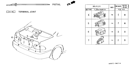 1998 civic EX 2 DOOR 5MT ELECTRICAL CONNECTORS (RR.) diagram
