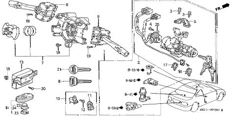 1997 civic EX 2 DOOR 4AT COMBINATION SWITCH diagram
