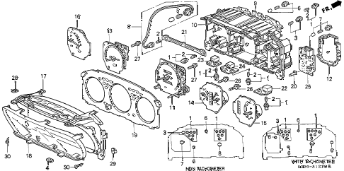 1996 civic DX 2 DOOR 5MT COMBINATION METER COMPONENTS diagram