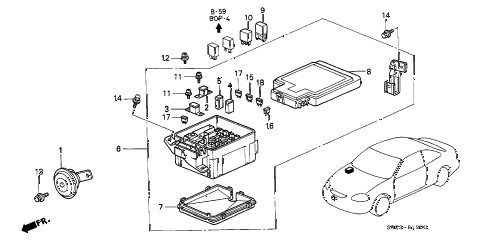 1998 civic EX 2 DOOR 4AT CONTROL UNIT (ENGINE ROOM) diagram