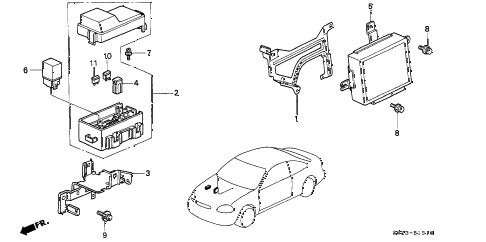 1996 civic DX(ABS) 2 DOOR 5MT ABS UNIT diagram