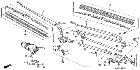 1996 civic HX 2 DOOR CVT FRONT WINDSHIELD WIPER (2) diagram